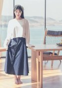 denim ruffle long skirt