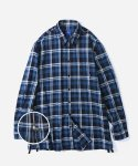 블루야드(BLUE YARD) OVERSIZE CHECK ZIPPER SHIRTS BLUE