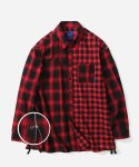 블루야드(BLUE YARD) OVERSIZE CHECK ZIPPER SHIRTS RED