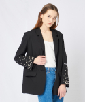 PEARL STUDDED SLEEVE JACKET BLACK