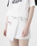 비에이블투(B ABLE TWO) Ring Belt Unbalance Denim Skirt (WHITE)