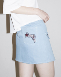 비에이블투(B ABLE TWO) Ring Belt Unbalance Denim Skirt (BLUE)