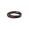 오뜨르 뒤 몽드(AUTOUR DU MONDE) BOLD DOUBLE LEATHER MEN BRACELET (BROWN)