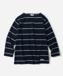 커버낫(COVERNAT) 3/4 BOAT NECK STRIPE  T-SHIRTS NAVY