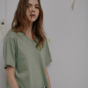 씨엘제로(C_L_O) C_L_O 17ss Cotton silket neo basic T-shirt - green C2ST01_GR