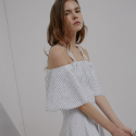C_L_O 17ss Stripe unbalance off shoulder one-piece C2SO01_WH