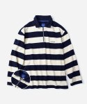 STRIPE HALF ZIPUP LONG SLEEVE NAVY/WHITE