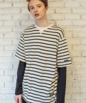 필루미네이트() UNISEX Sleeve Layered ST Tee-IVORY