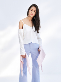 더 스튜디오 케이(THE STUDIO K) 17SS DETACHABLE CUFFS SLIP TOP_WHITE