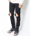 BLACK WIPE OUT DAMAGE JEANS