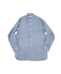 swellmob rinen collarless french work shirts -stripe-
