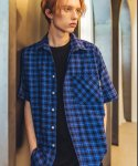 필루미네이트() UNISEX 1/2 Check Shirt-BLUE