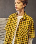 필루미네이트() UNISEX 1/2 Check Shirt-YELLOW