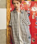 필루미네이트() UNISEX 1/2 Check Shirt-WHITE