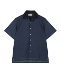 오디너리피플() [Unisex] ORDINARY POINT COLLAR 1/2 DARK DENIM SHIRT