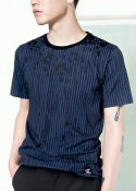 STRIPE PRINTED COTTON T-SHIRTS BLACK