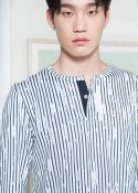 STRIPE PRINTED HENLEY T-SHIRTS WHITE