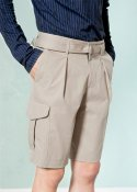 (UNISEX) BERMUDA COTTON BLENDED SHORTS BEIGE