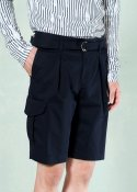 (UNISEX) BERMUDA COTTON BLENDED SHORTS NAVY