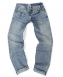 아웃스탠딩(OUTSTANDING) LOT 1204 SELVEDGE WASHED DENIM[WASHED INDIGO]