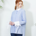 룩캐스트(LOOKAST) BLUE STRIPE RIBBON BLOUSE