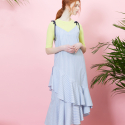 룩캐스트(lookast) BLUE STRIPE DOUBLE FLARE DRESS