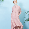 룩캐스트(LOOKAST) PINK EYELET LINEN FLARE DRESS