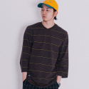 블랙맘바(blackmamba) Hero Stripe 3/4 T-Shirt (Brown)
