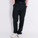 블랙맘바(blackmamba) Window Pain Check Wide Slacks (Black)
