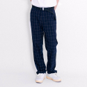 블랙맘바(blackmamba) Window Pain Check Wide Slacks (Navy)