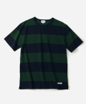 커버낫(COVERNAT) S/S C WIDE STRIPE T-SHIRTS GREEN/NAVY