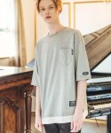 필루미네이트() UNISEX Simple Layered Pocket Tee-GREY