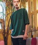 필루미네이트() UNISEX Simple Layered Pocket Tee-GREEN