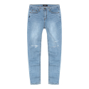 WASHED DENIM PANTS-LIGHT BLUE