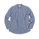 STRIPE CHINA-COLLAR SHIRT : BLUE