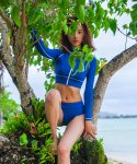 Bright Blue Green Short Zip-up Rashguard