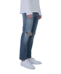 AYC Medium Wash Destroyed Jeans 001 (Cropped ver. 01) / 아영상사 중청 디스 크롭진 01