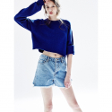 노앙(NOHANT) SLIT DENIM SHORTS FOR WOMEN LIGHT BLUE