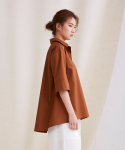 어헤이트(AHEIT) Back Flared Shirt Blouse Brown