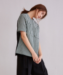 어헤이트(AHEIT) Green Check Patterned Crop Top with Black Silk Contrast
