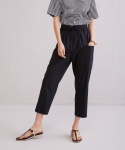 어헤이트(AHEIT) Waist Banded Crop Trousers Black