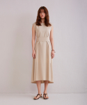 어헤이트(AHEIT) One Side Open Back Flared Dress Beige