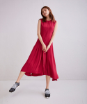 어헤이트(AHEIT) Flow Pleated Fuchsia Dress