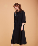 어헤이트(AHEIT) Waisted Shirt Dress In Summer Wool Black