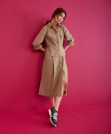 어헤이트(AHEIT) Waisted Shirt Dress In Summer Wool Khaki Beige