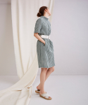 어헤이트(AHEIT) High Neck Cocoon Check Dress Green