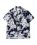 제로() Flower n Leaf Hawaiian Shirts (Navy)