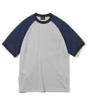 유니폼브릿지(UNIFORM BRIDGE) 10s heavyweight raglan short sleeve tee grey