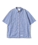 제로() Oversize Gingham Check Shirts (Blue)