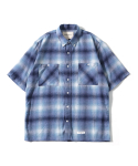 제로() Oversize Big Check Nap Shirts (Blue)